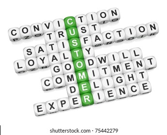 Customer positive experience crossword on white background 3D render