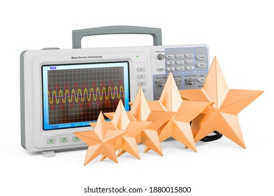 Customer rating of oscillograph concept. 3D rendering isolated on white background