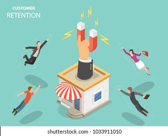 Customer retention flat isometric concept. Hand with magnet has appeared from the store building attracting people from everywhere.