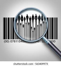 Customer search and searching for client data or purchaser information business concept as a magnifying glass focused on a retail product bar code as people and public buyers as a 3D illustration.