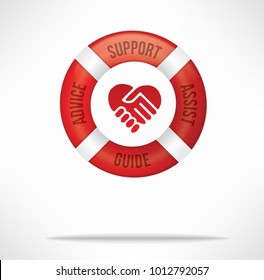 Customer service care and support concept with red life buoy with words advice, support, assist and guide and hand shake with heart shape.