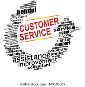 CUSTOMER SERVICE info text graphics and arrangement concept (word clouds) on white background