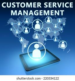 Customer Service Management illustration with tablet computer on blue background
