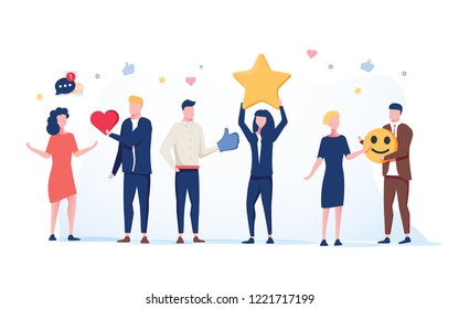 Customer Service Technical Support 24h Concept. Operator Online Characters Talking with Clients by Headset. Helpline Center illustration. Positive star feedback. Victory or classification