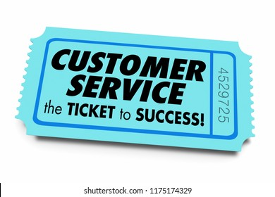 Customer Service Ticket to Success Good Business Support 3d Illustration