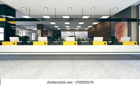 Customer stand with digital counter in large open space office 3D rendering