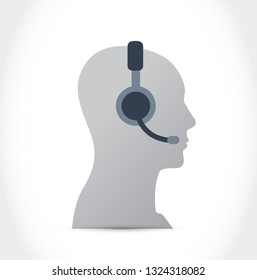 customer support. Headset. illustration design isolated over a white background.