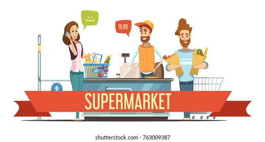 Customers with brown paper grocery bags and cashier at supermarket checkout counter cash register cartoon poster  illustration