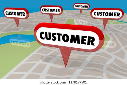 Customers Clients Prospects Leads Locations Map Pins 3d Illustration