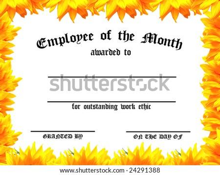 Customizable Employee On Month Certificate Sunflower Stock ...