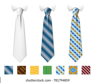 Customizable neckties templates with textures set. Man necktie of set, illustration of tie with fashion pattern