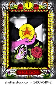 Customized  Tarot Card. Ace of pentacles. Hand drawn. All of the cards available!