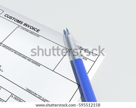 Customs Invoice Blank Paper Form With Blue Semi Transparent Modern Plastic Ball Pen Isolated On