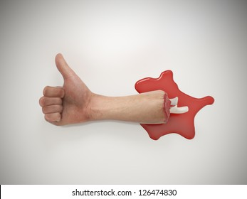 A cut of human hand holding a thumbs up sign