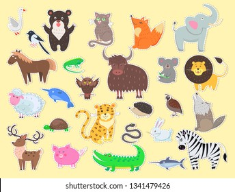 Cut out exotic, domestic and farm animals poster with yellow background. raster flat colorful banner of live creatures signs for cutting and children's playing. Mammals,insects and wildlife characters