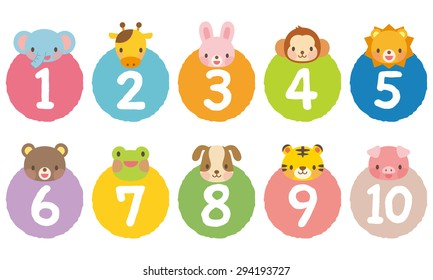 "cut out the numbers on colorful circles ""1 to 10"" on the animals"