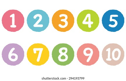 """cut out the numbers on colorful circles """"1 to 10"""""""