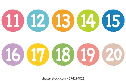 "cut out the numbers on colorful circles ""11 to 20"""