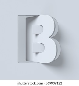 Cut out and rotated font 3d rendering letter B