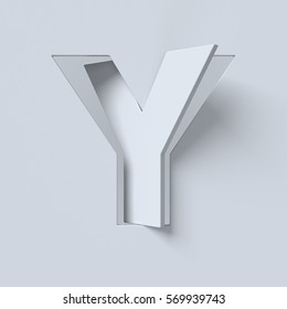 Cut out and rotated font 3d rendering letter Y