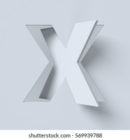 Cut out and rotated font 3d rendering letter X