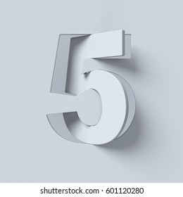 Cut out and rotated font 3d rendering number 5