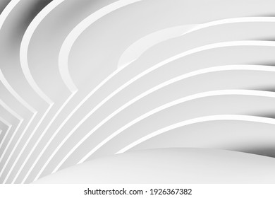 Cut rounded shapes on a white background as a modern architectural concept. 3d rendering.