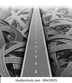Cut through the mess for Solutions and success with clear vision and strategy building a road bridge over a maze of tangled mess of roads and highways cutting through the confusion.