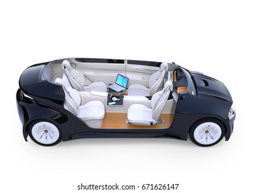 Cutaway autonomous car interior isolated on white background. Mobile office concept. 3D rendering image.