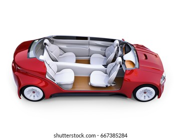 Cutaway autonomous car's interior. Front seats turned around and passengers can relaxing or working when they driving.  3D rendering image.