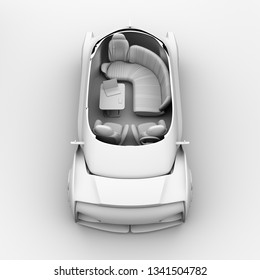 Cutaway clay rendering self driving electric car interior. Lounge chair and rear facing seats. 3D rendering image.