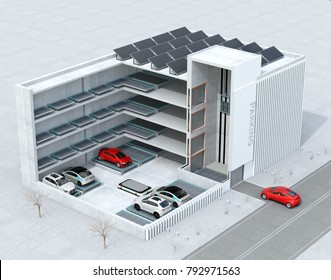 Cutaway concept image for automatic car parking system by AGV (Automated  Guided Vehicle). 3D rendering image.