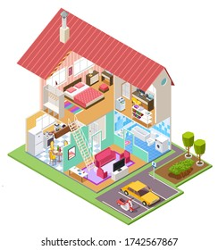 Cutaway house isometric. Housing construction cross section with kitchen bedroom bathroom interior. 3d house inside