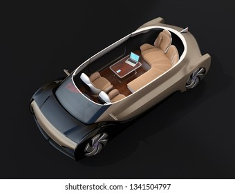 Cutaway self driving electric car isolated on black background. Lounge chair and rear facing seats. First class style. 3D rendering image.