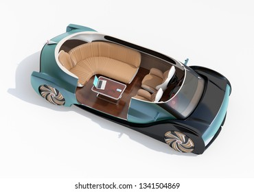 Cutaway self driving electric car isolated on white background. Lounge chair and rear facing seats. First class style. 3D rendering image.