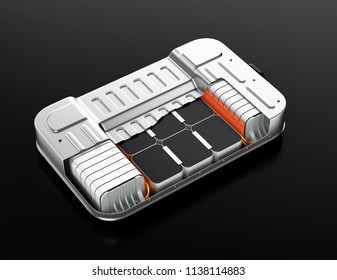 Cutaway view of electric vehicle battery pack on gray background. 3D rendering image.