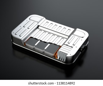 Cutaway view of electric vehicle battery pack on black background. 3D rendering image.