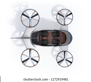 Cutaway view of Passenger Drone with interior layout on white background. Front seats turned backward. 3D rendering image.