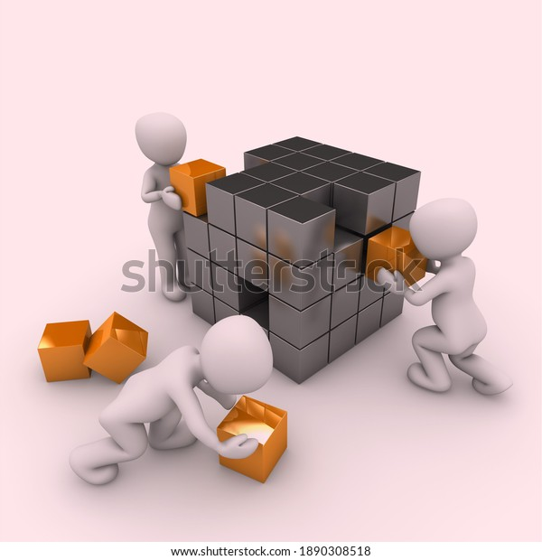Cute 3 figures fixing cubes.