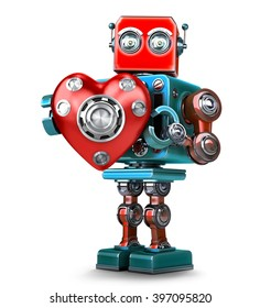 Cute 3d Retro Robot obot with red heart. Isolated over white. Contains clipping path