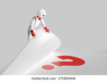 cute 3d robot finds a question mark. 3d rendering