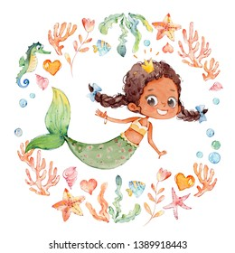 Cute African American Watercolor Mermaid Surrounded by Frame of sea elements, Sea Horse, corals, bubbles, seashells, anchor, seaweeds. Ocean Kit. Young Underwater Woman Nymph Grace Mythology Princess.
