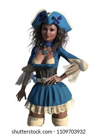 A cute african pirate girl on white - 3D render.