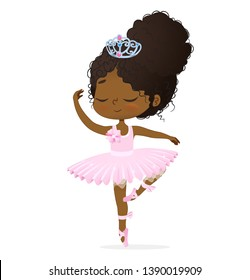 Cute African Princess Baby Girl Ballerina Dance Isolated. Afro Ballet Dancer Elegant Female Character Action Drawing. Candy Doll wear Pink Tutu Dress and Diadem Art Flat Cartoon  Illustration