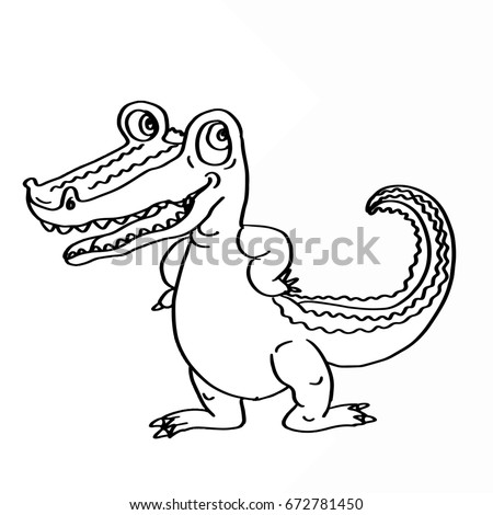 Cute Alligator Coloring Stock Illustration - Royalty Free Stock ...