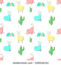Cute alpaca with cactus pattern. Creative design for fabric, textile, wallpaper, wrapping paper.