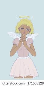 Cute Angel praying in skies
