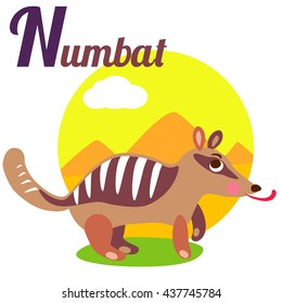 Cute animal alphabet for ABC book. N letter for the Numbat