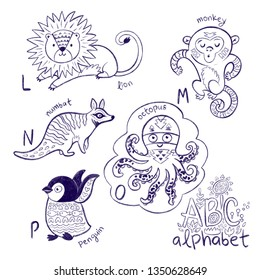Cute animal alphabet coloring page. Funny cartoon animals - lion, monkey, numbat, octopus and penguin