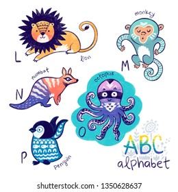 Cute animal alphabet. Funny cartoon animals - lion, monkey, numbat, octopus and penguin. Alphabet design in a chalk colorful style